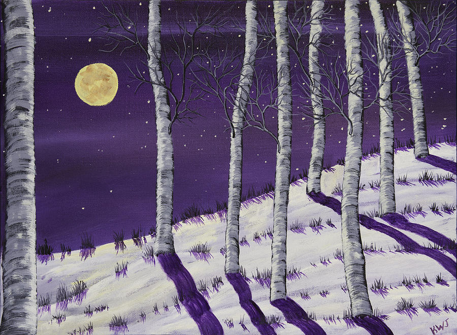 Winter Full Moon And Birch Trees Painting Painting by