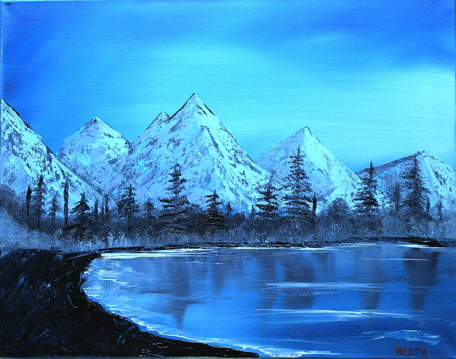 Winter Mountain Lake Painting By Ryan Heath