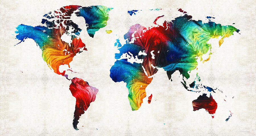 world map 19 colorful
