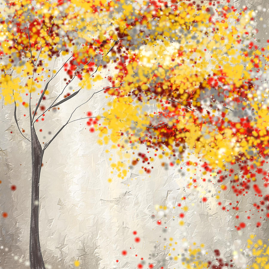 Yellow Gray And Red Painting by Lourry Legarde