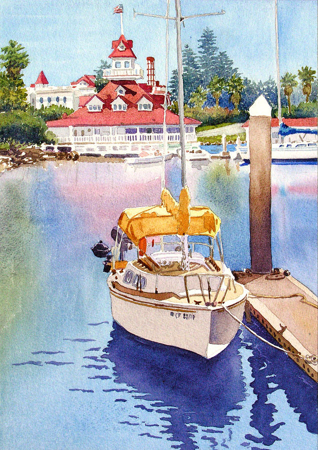 Yellow Sailboat And Coronado Boathouse Painting By Mary Helmreich