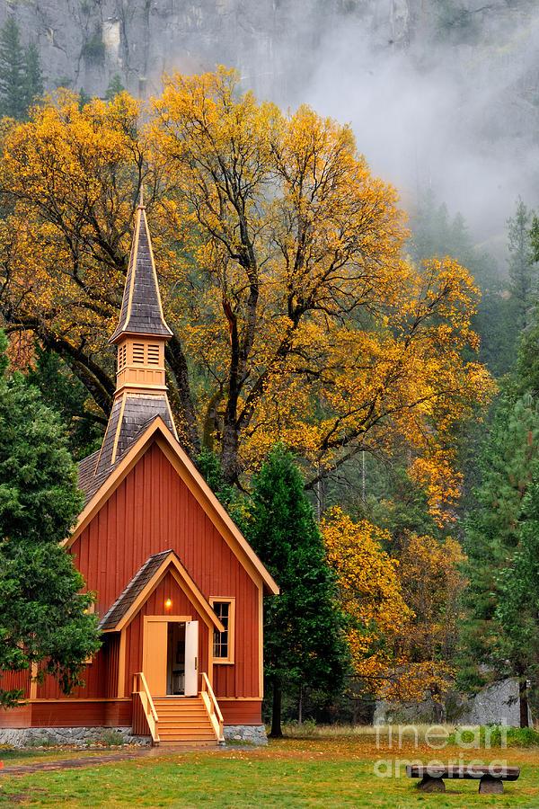 New England Fall Phone Wallpaper Yosemite Chapel In The Fall Photograph By Daniel Ryan