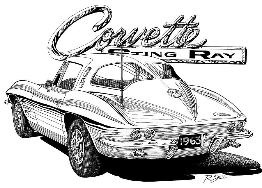 1963 Split Window Corvette Drawing by Rod Seel