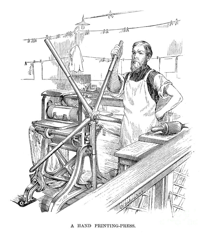 Hand Printing-press, 1890 Photograph by Granger