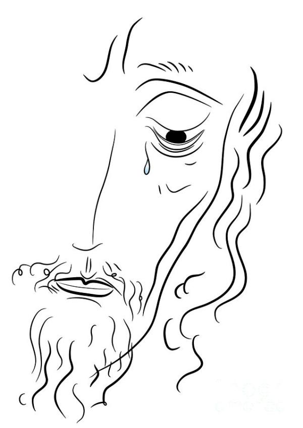 Simple Drawing Jesus Christ Sketch Coloring Page