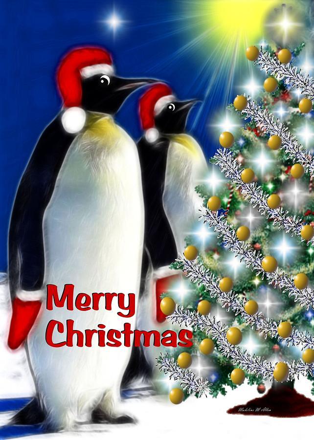 Merry Christmas Penguins Digital Art By Madeline Allen
