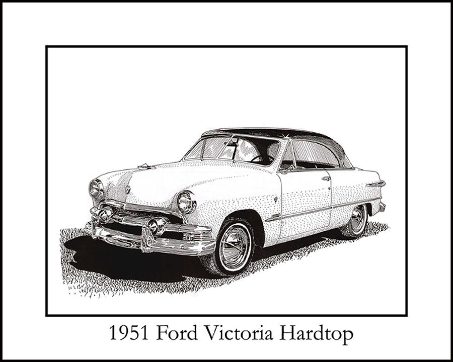 1951 Ford Victoria Hardtop Drawing by Jack Pumphrey