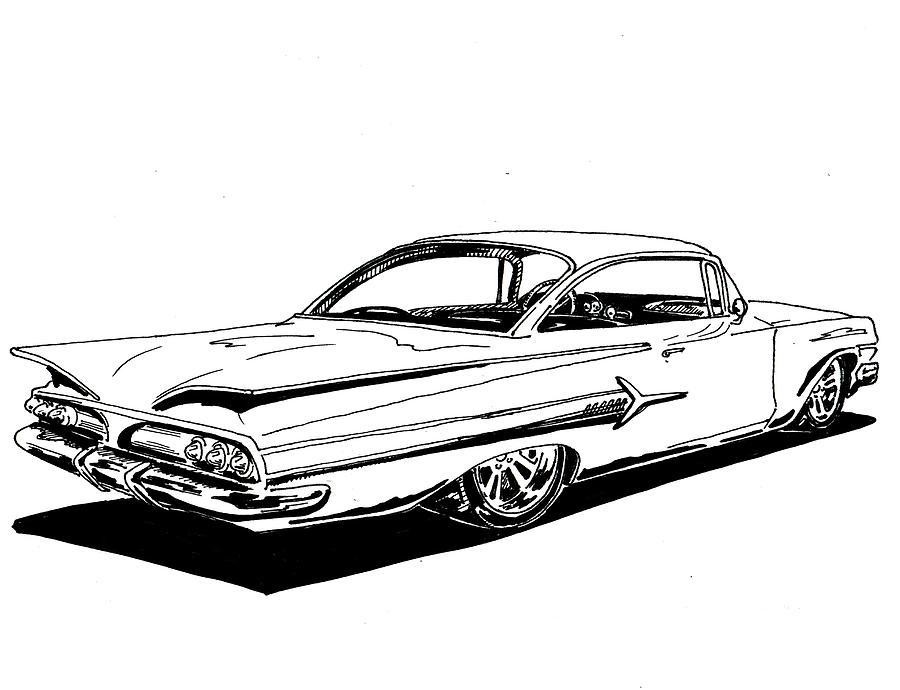 1960 Impala Drawing by Jim Porterfield