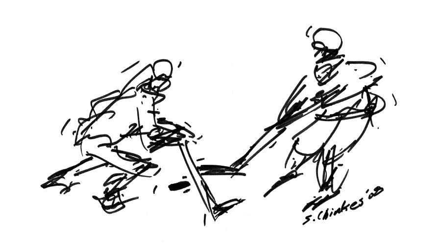 Hockey Drawing by Sam Chinkes