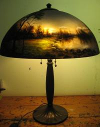 Reverse Painted Lamp Painting by Nancy Magnell