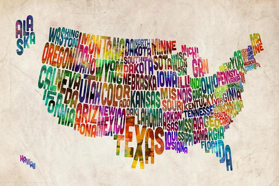 Word map of the United States