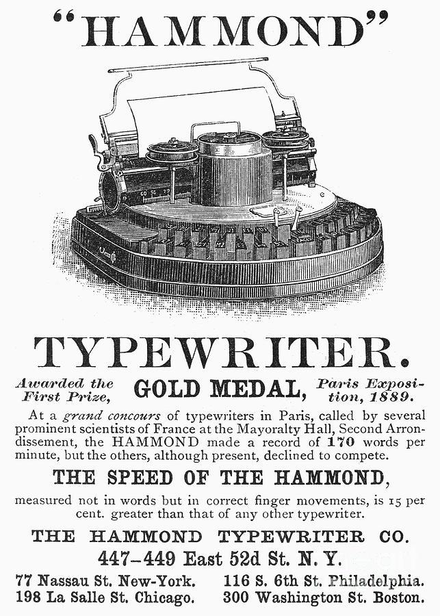 Typewriter Ad, 1890 Photograph by Granger