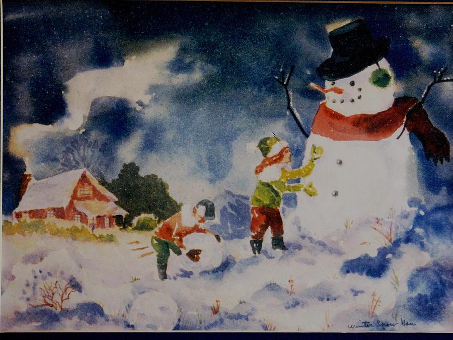 A Winter Snowman Painting By Aileen Markowski