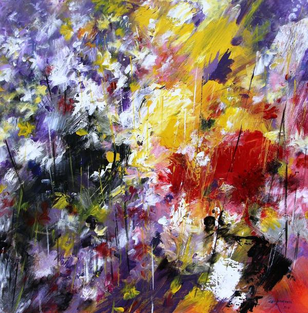 Abstract Flowers Painting Mario Zampedroni