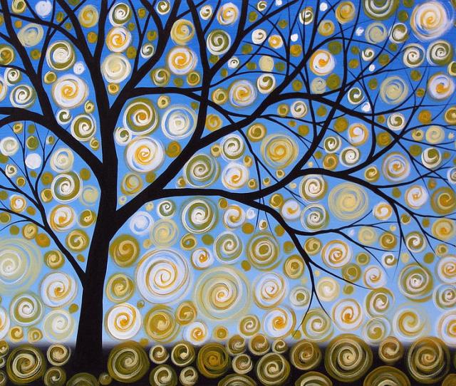 Abstract Tree Nature Original Painting Starry Starry By Amy Giacomelli Painting By Amy Giacomelli