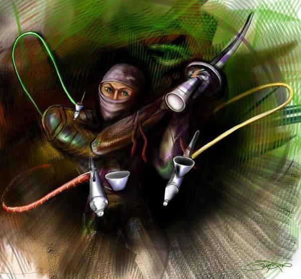 Airbrush Ninja Painting - Fine Art Print