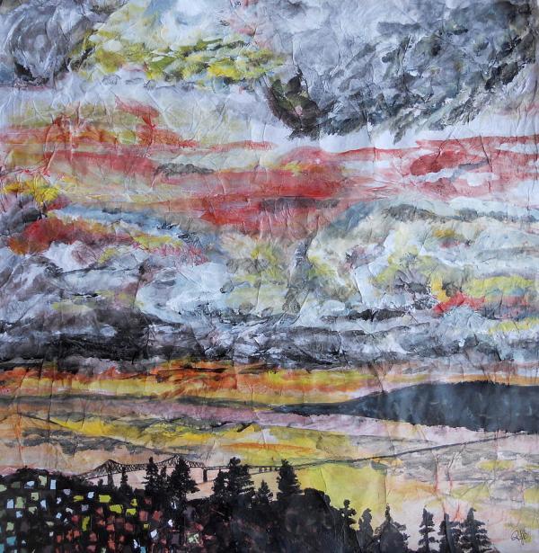Astoria Megler Bridge Sunset Painting Rachel Biddlecome