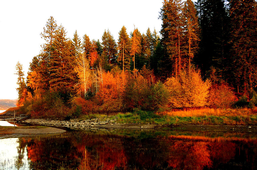 4k Fall Michigan Wallpaper Autumn Sunset At Lake Coeur D Alene Photograph By Cindy Wright