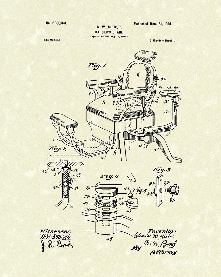 chair design patent wood arm chairs barber s 1901 art drawing by prior barbers