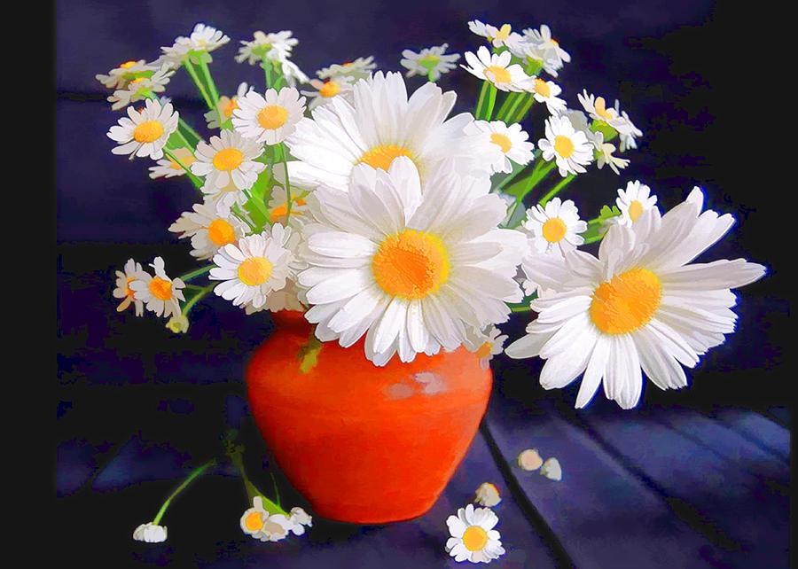 White Wall Flower Art Large