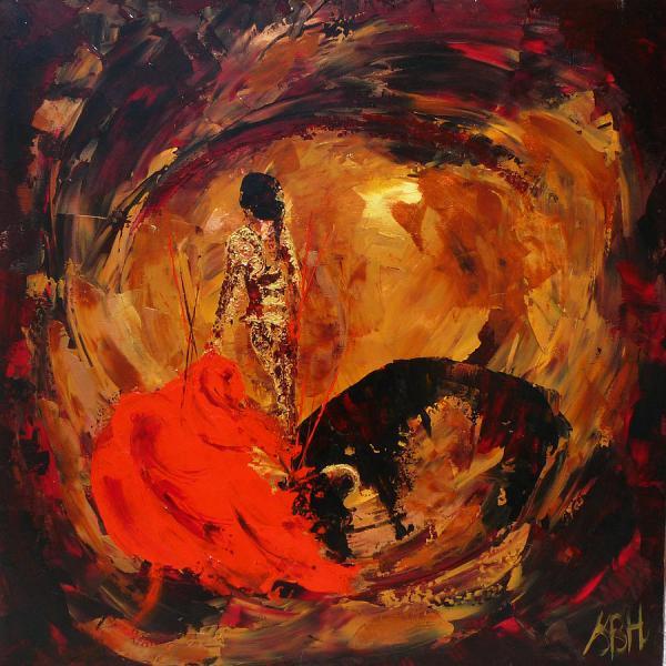 Bullfight Study In Gold Painting Sally Huntington