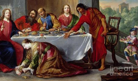 Christ in the House of Simon the Pharisee Painting by Claude Vignon