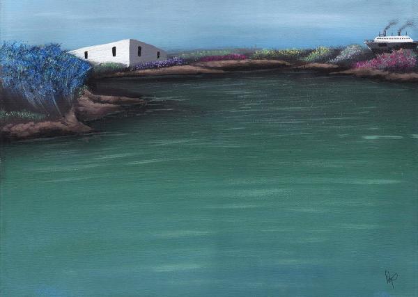 cruise ship landscape painting