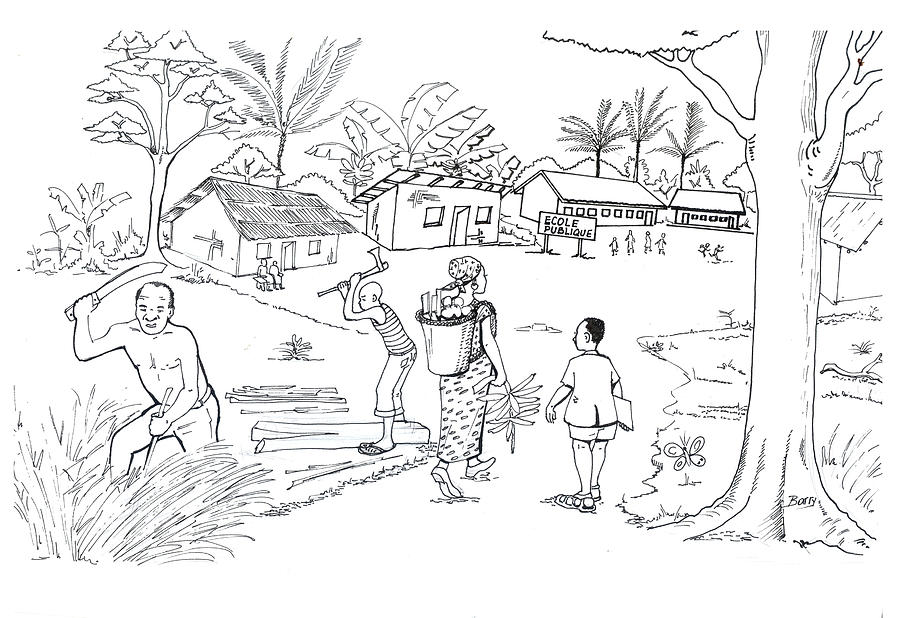 Daily Life In South And Center Cameroon 02 Drawing by