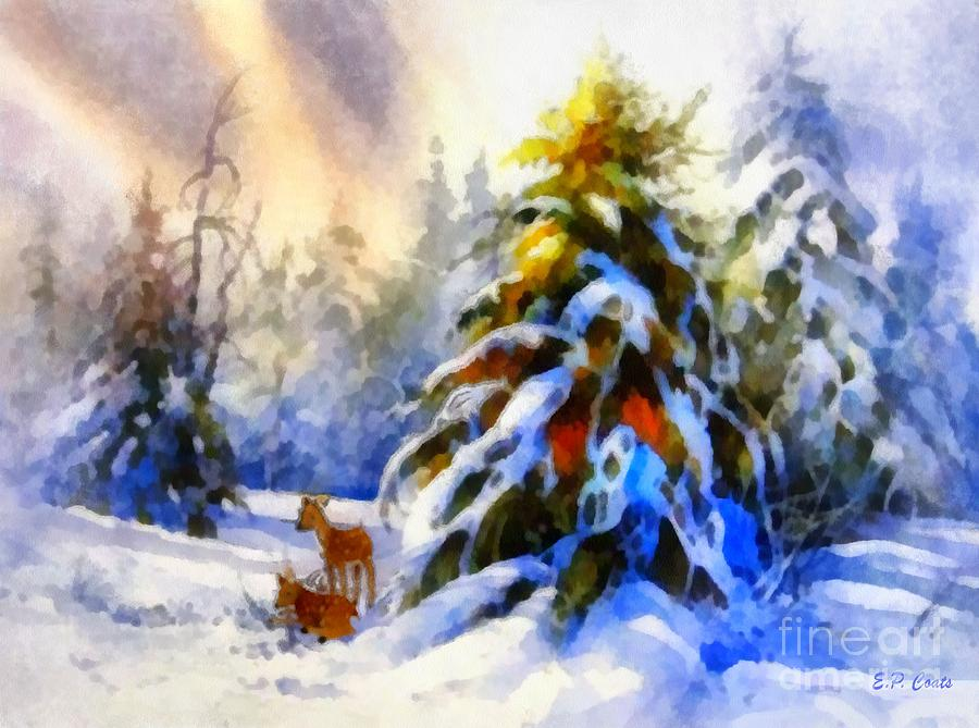 Deer In The Snowy Woods Painting By Elizabeth Coats