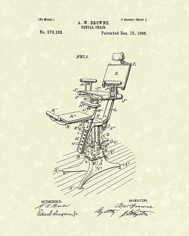 chair design patent mid century modern dining chairs set of 4 dental 1896 art drawing by prior browne