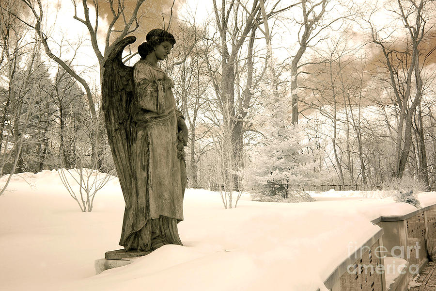 Dreamy Surreal Angel Sepia Nature Scene Photograph by