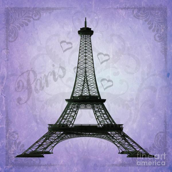 Purple Eiffel Tower Drawing