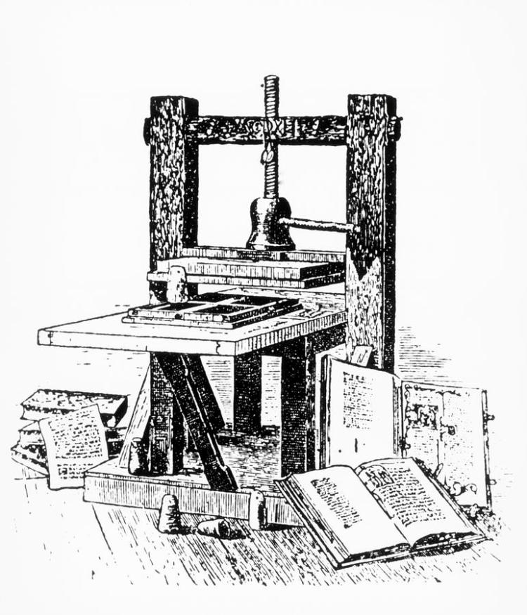Engraving Of A Press Similar To Gutenberg's Photograph by