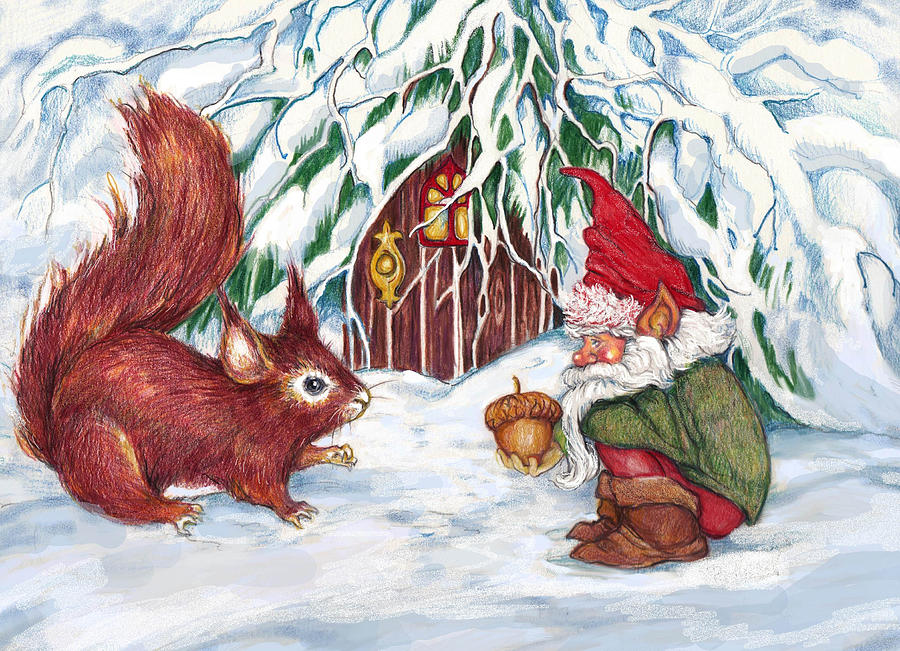 Gnomes Present Mixed Media By Peggy Wilson