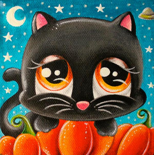 Halloween Kitty Painting Jordana Hawen