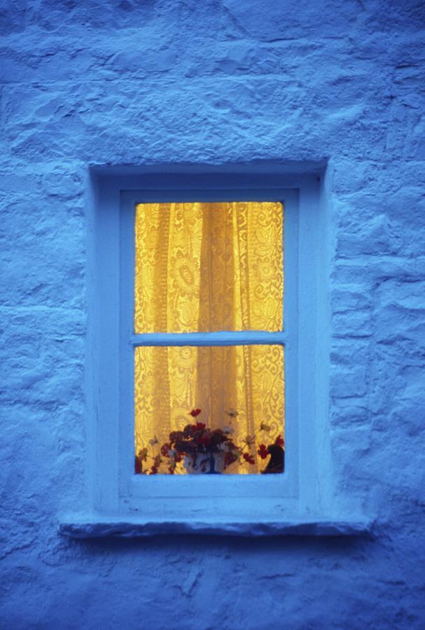 Ireland Cottage Window At Night Photograph by Richard Cummins