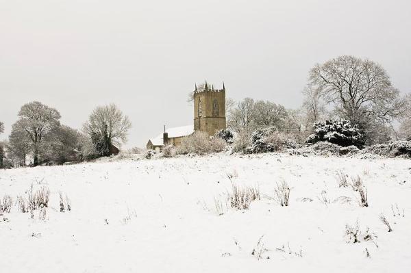 ireland winter landscape with church