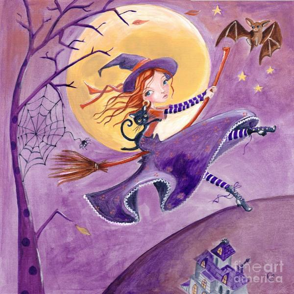 Halloween Witch Fine Art Paintings