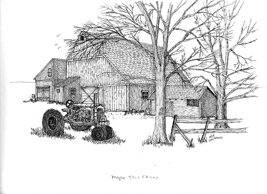 farm and tractor sketch
