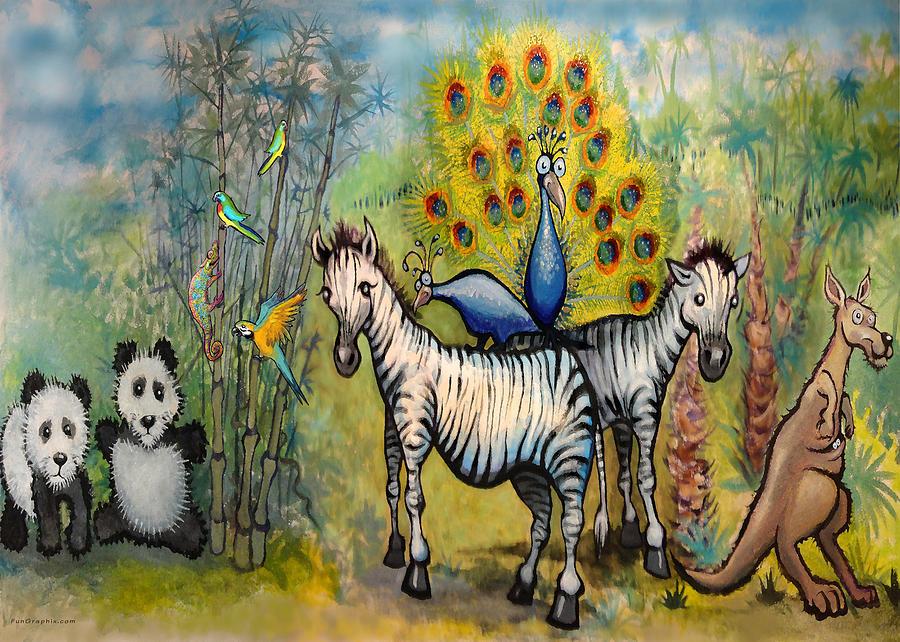 Panda Peacock Kangaroo Zebra Painting by Kevin Middleton