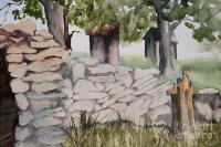 Pennsylvania Stone Wall Painting by Penny Stroening