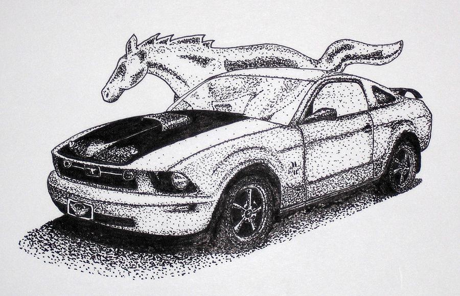 Ford Mustang Horse Drawing