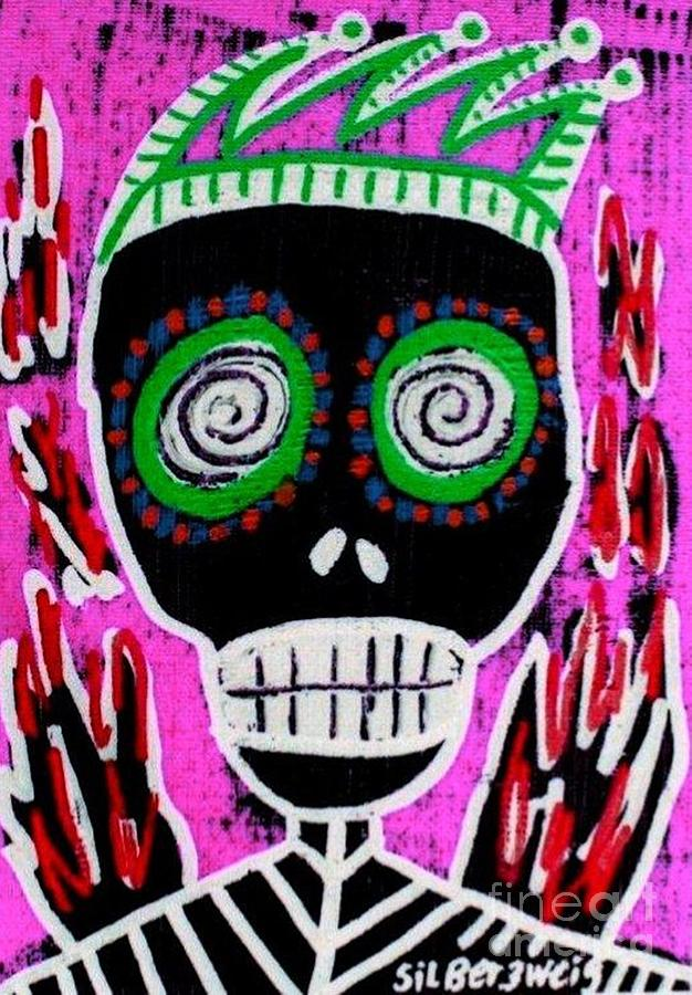 Red Flame Jester Sugar Skull Angel Digital Art by Sandra