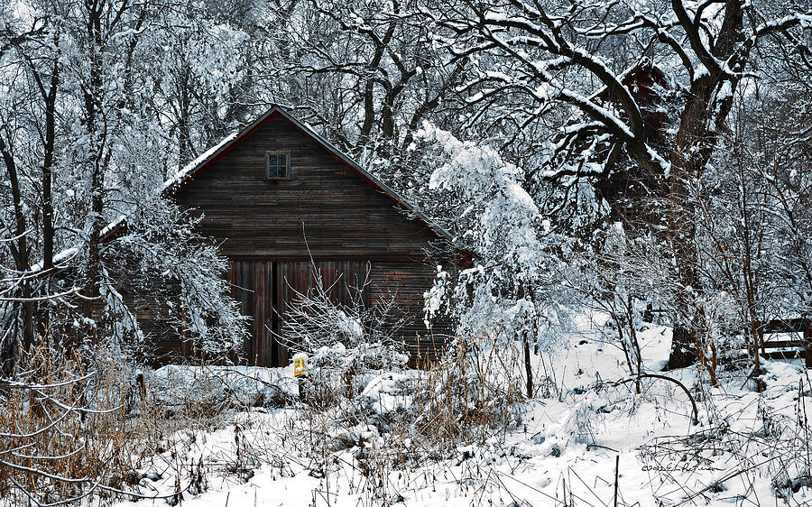 Snow Covered Barn Photograph By Edward Peterson