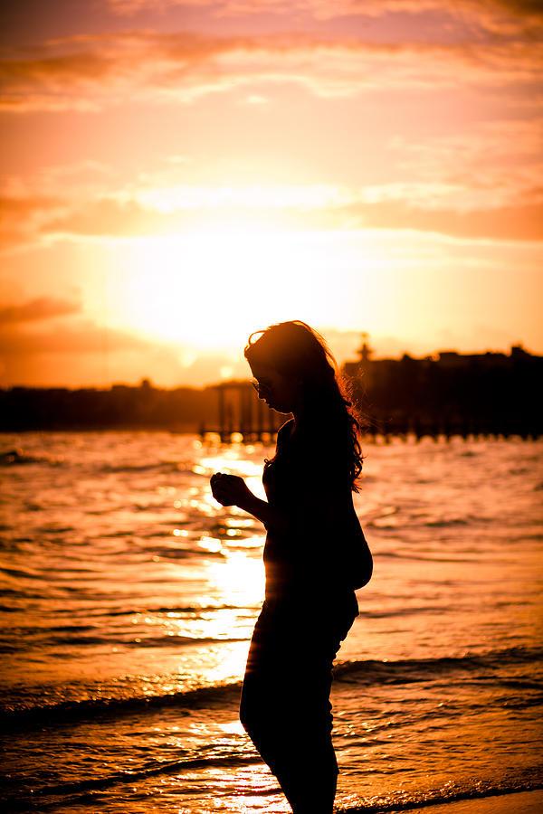 Surfer Girl Silhouette Sunset Wallpaper Sunset Girl Photograph By Oscar Mora