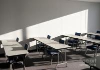 Tables And Chairs In A College Classroom Photograph by ...