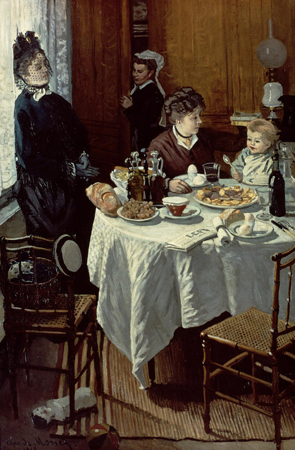 The Breakfast Painting by Claude Monet