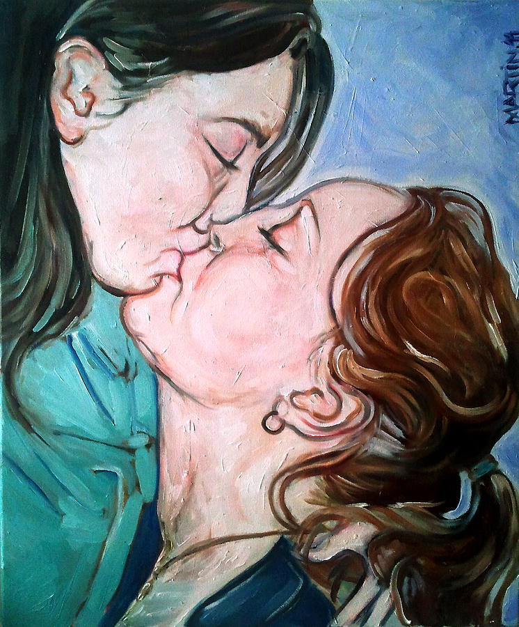 Girls Kissing Painting