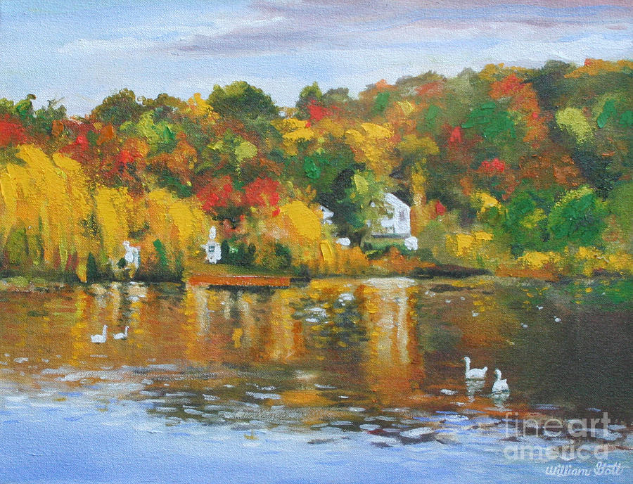 The Roslyn Duck Pond Painting By William Gott
