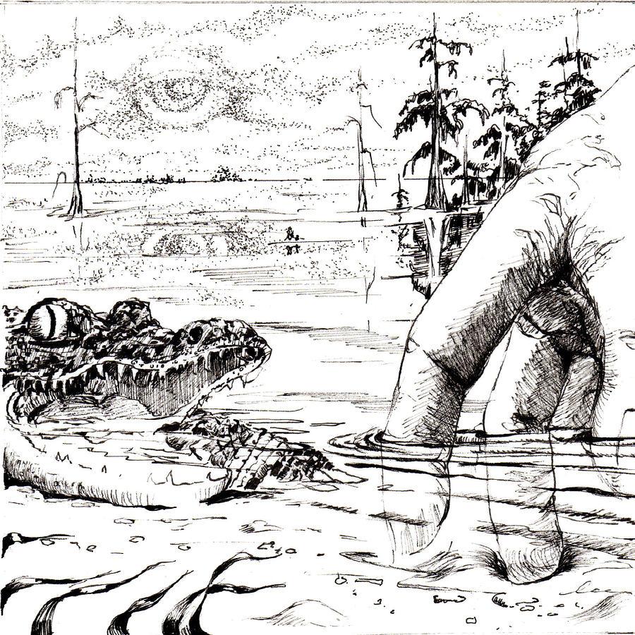 Trippin Thru Blue Elbow Swamp Drawing by L Lee Ligocki